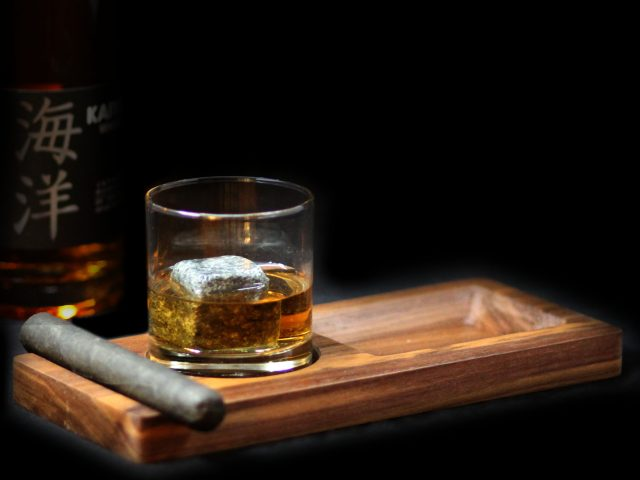 Walnut wood tray for a Cigar, a Snack & glass of Whiskey