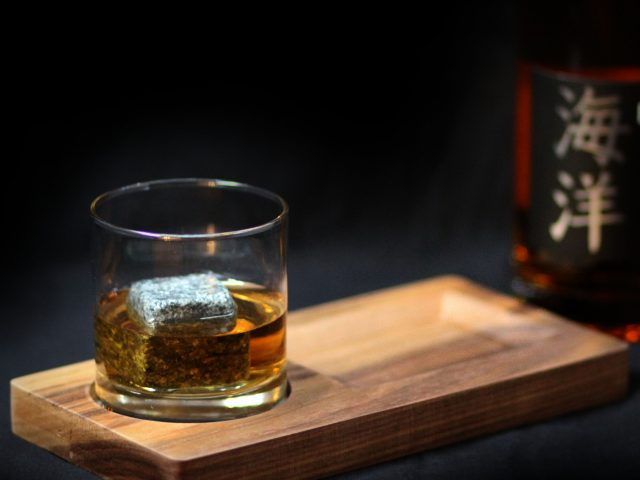 Tray made out of Walnut wood, for a Snack and glass of Whiskey