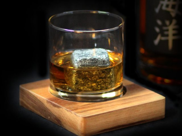 Tray made out of Walnut wood, for a  glass of Whiskey