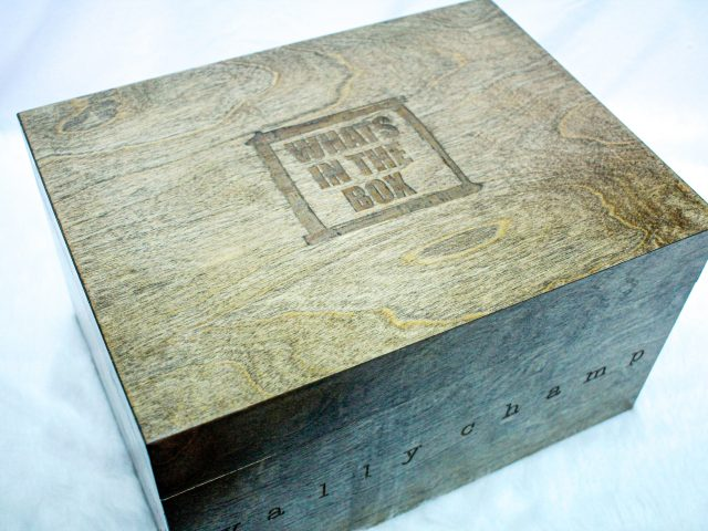 Stained Wood Box, with laser engraved Wally Champ markings.